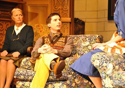 Louise James (Mrs Boyle) and Oliver Gully (Christopher Wren) in Agatha Christie's The Mousetrap. Credit Liza Maria Dawson (3)
