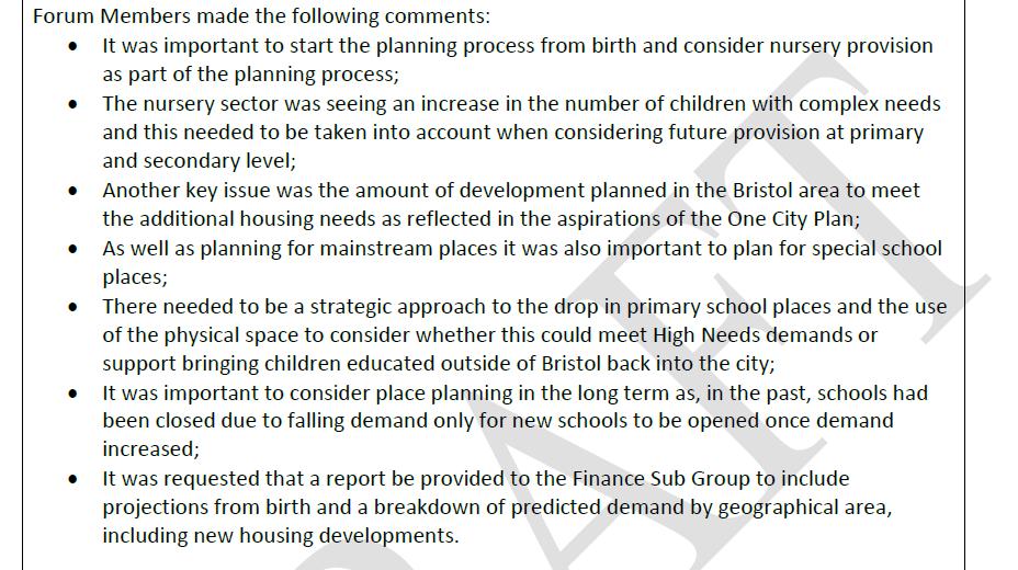 Bristol schools forum