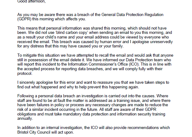 Bristol City Council data breach