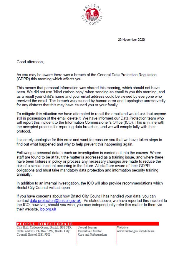 Bristol City Council data breach