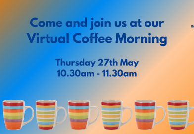 Bristol Parent Carers are having a coffee morning. This image contains a row of coffee cups, text and the organisations logo