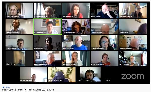 Screenshot of the Bristol Schools Forum Meeting June 2021
