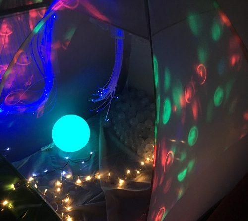 white den projector tent sensory activity