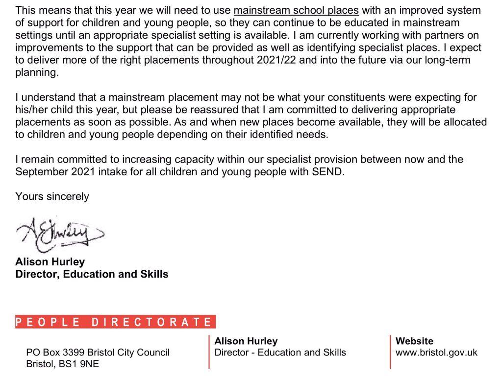 No special school places Bristol 1