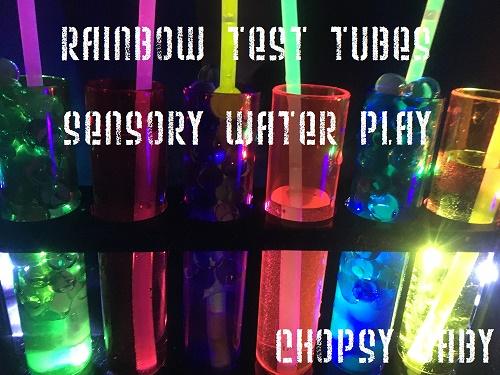 rainbow test tube shot glasses sensory activity